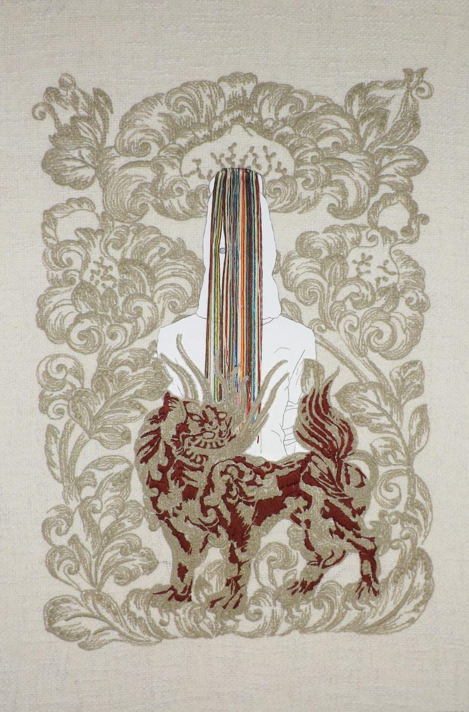 Cara, bordados sobre tela y papel, 50x32,5cms, 2017.