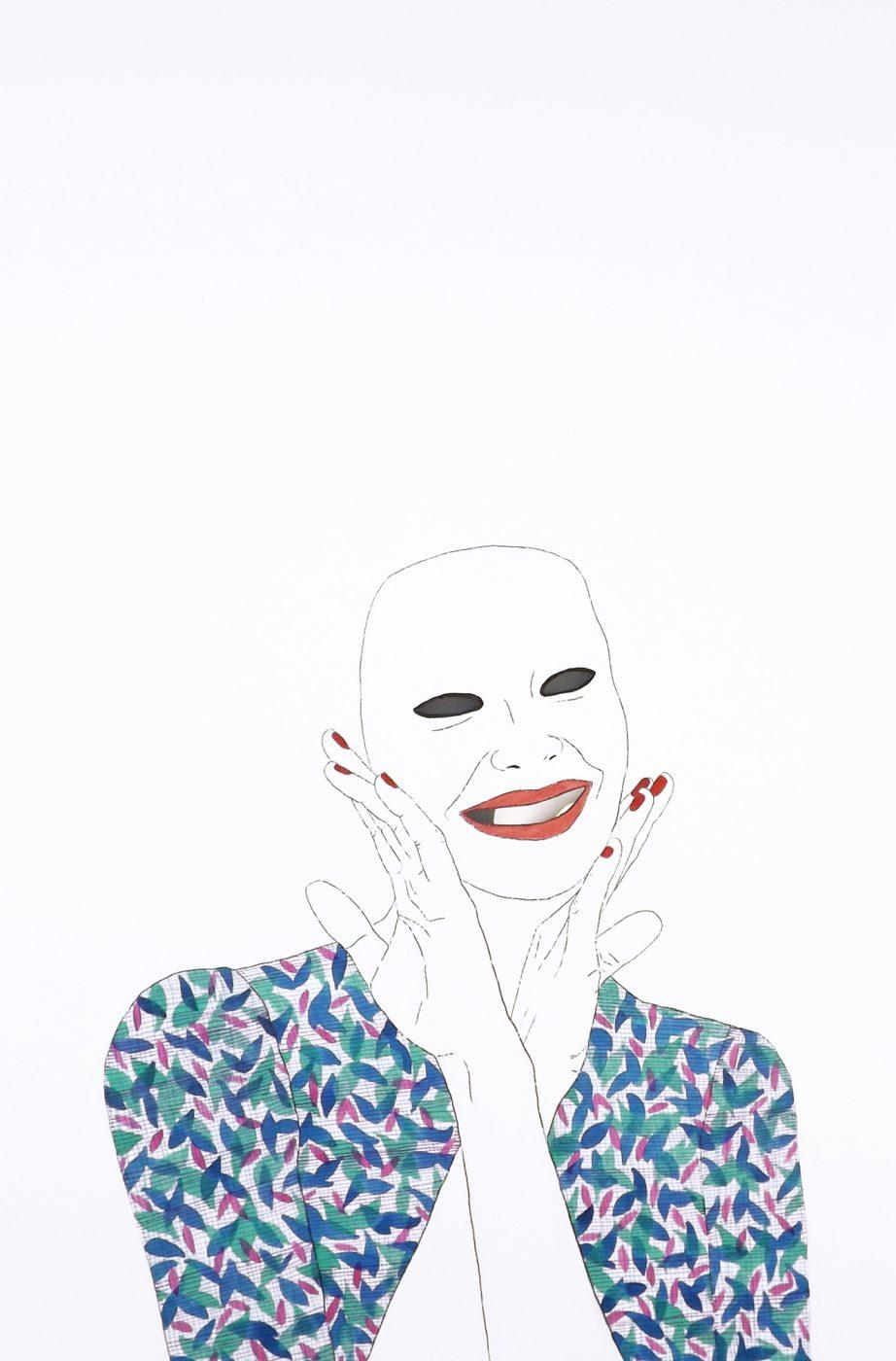 Mascarada, 50x32,5cms, Técnica mixta sobre papel, 2016.