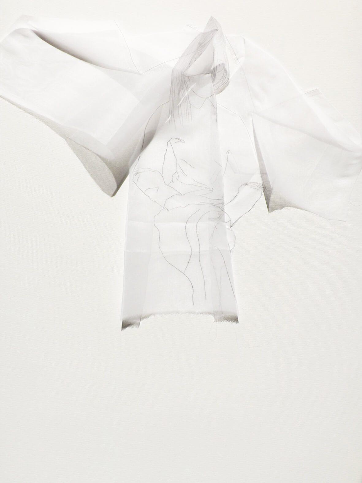 Hechizo Seda / Las princesas delicadas. Técnica, grafito sobre seda. 83x63 cms