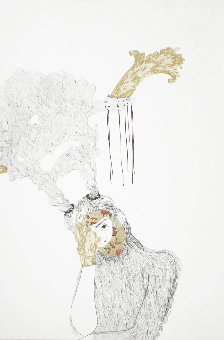 Ursul/Osa, 65x50cms, Técnica mixta sobre papel, 2016.