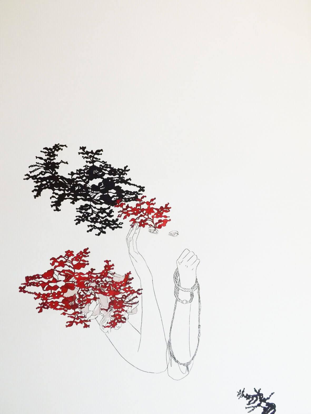 Hechizo Rosa / Las princesas delicadas. Técnica mixta (acuarela, acrílico y grafito) sobre papel.  83x63 cms
