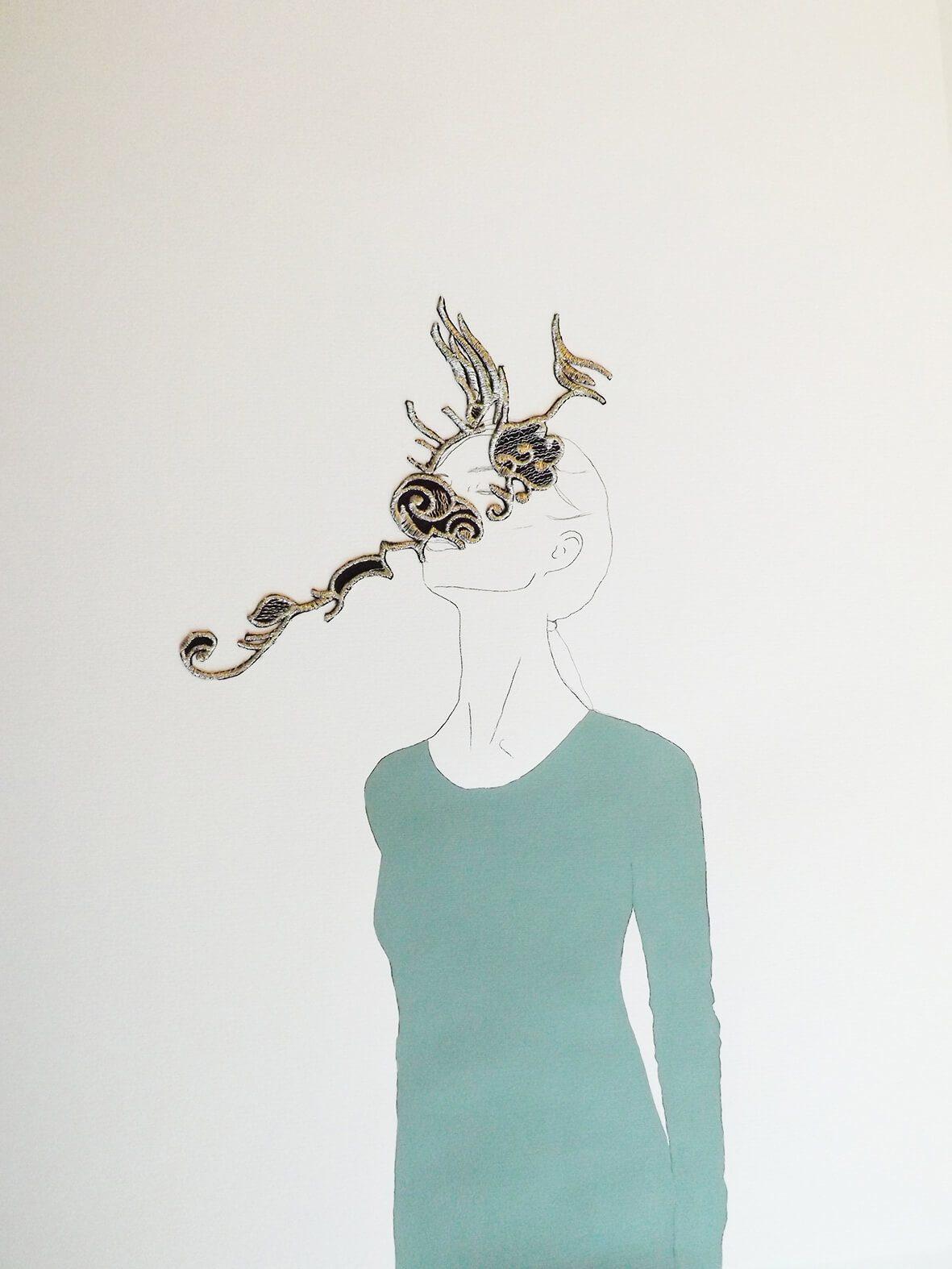 Hechizo Mosquito / Las princesas delicadas. Técnica mixta (grafito, bordado y acrílico) sobre papel.  83x63 cms